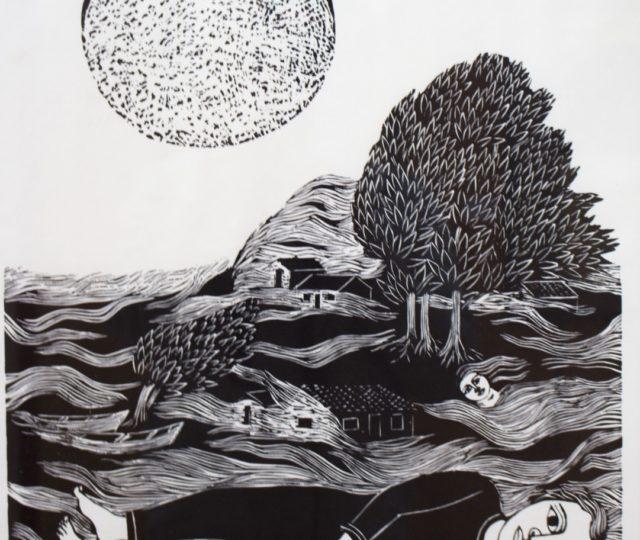 Un Hombre en la Playa – Xilografía – 50X43 cm. (1968)